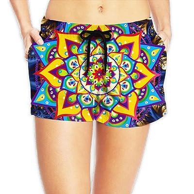 857840f570 Usieis Mandala Surfing Pocket Elastic Waist Women's Beach Pants ...