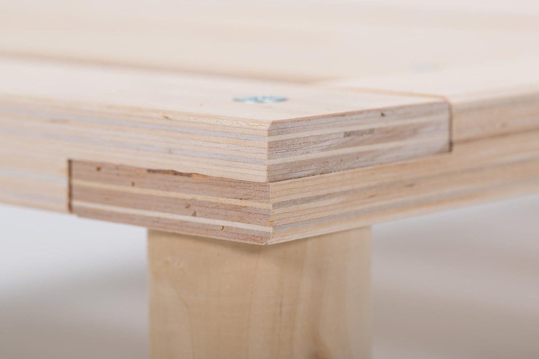 Gigapur G1 26882 Bett   Bettgestell Bettgestell Bettgestell mit Lattenrost   Bettrahmen belastbar bis 195 Kg   Holzbett 90 x 200 cm 5e4ba1