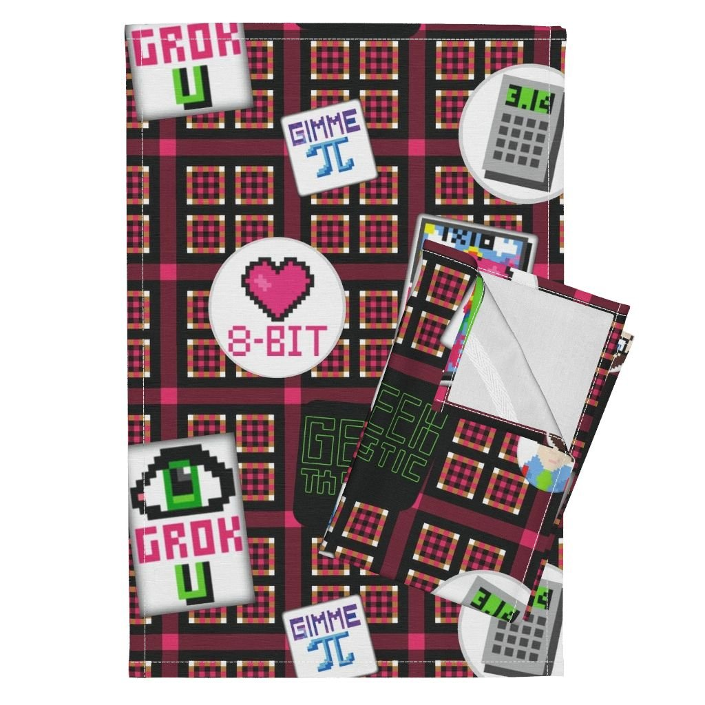 Roostery Geek Nerd Retro Game 8 Bit Graphic Plaid Tea Towels I Grok Geeky 8-Bit Flair by Peacoquettedesigns Set of 2 Linen Cotton Tea Towels