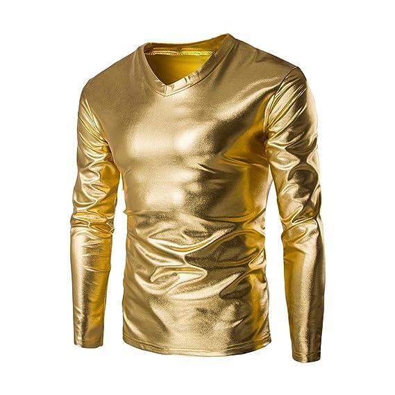 VPASS Hombre Camiseta de Manga Larga Oro Rendimiento Traje ...