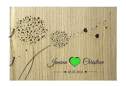 Livingstyle Wanddesign Rustikales Gästebuch Aus Holz Zur Hochzeit Mit Namen Und Datum Herzpusteblume Grün Motiv 10 48 Seiten24 Blatt