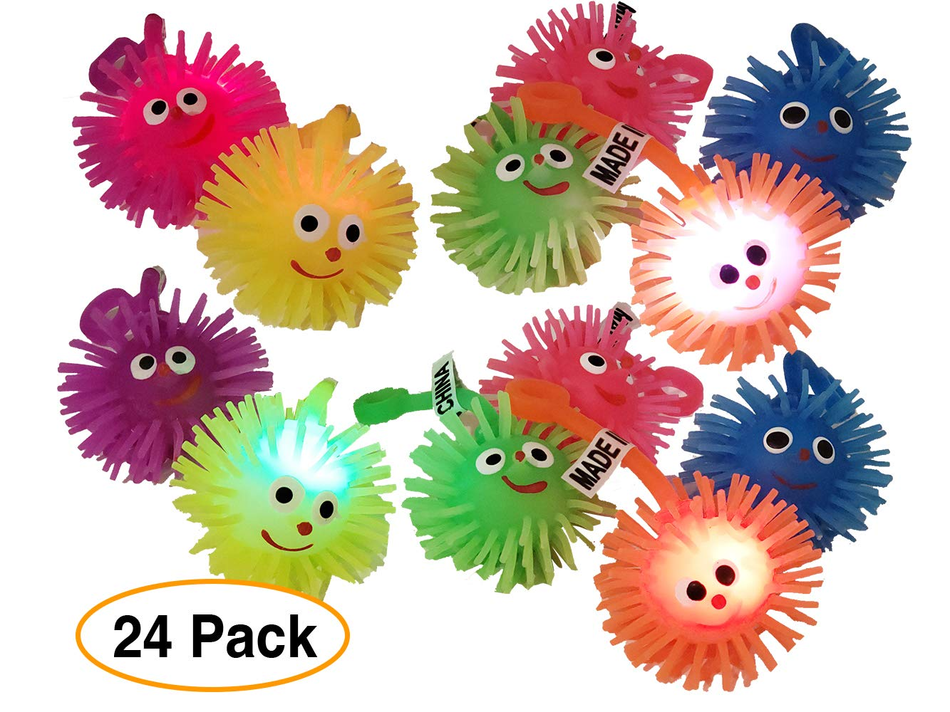 Mini Elastic Balls Expression//Spiky Massage Balls Light Up LED Flashing Rubber 2 for Kids Party goodie bags//giveaways 24 Pack Pro Image