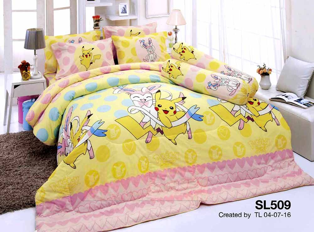 Pokemon Official Licensed Yellow Bedding Set, Fitted Sheet, Pillow Case, Bolster Case, Comforter SL509 Set A+1 Size 42''x78'' (Twin)