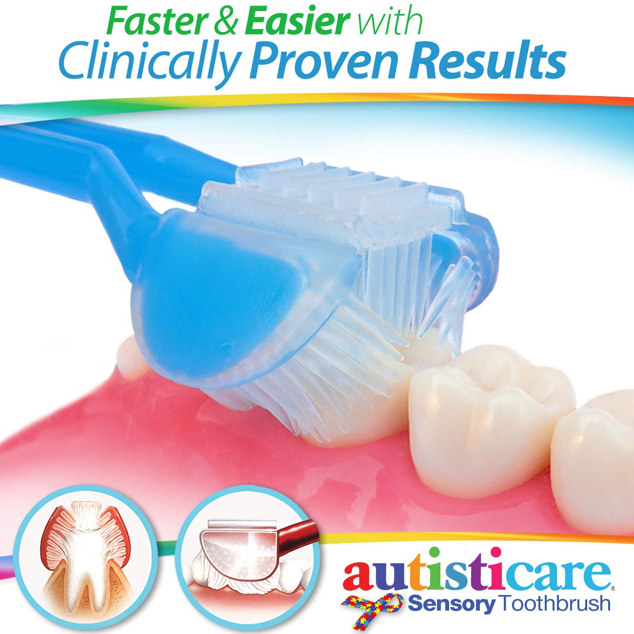 2-PK Special Needs 3-SIDED Toothbrush EASILY BRUSH BETTER Caregiver Autism ASD