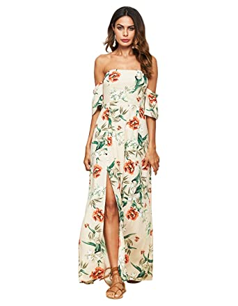 e9231562879b Sanifer Women s Casual Floral Print Off The Shoulder Split Long Maxi Dress  Bohemian Dresses (Beige