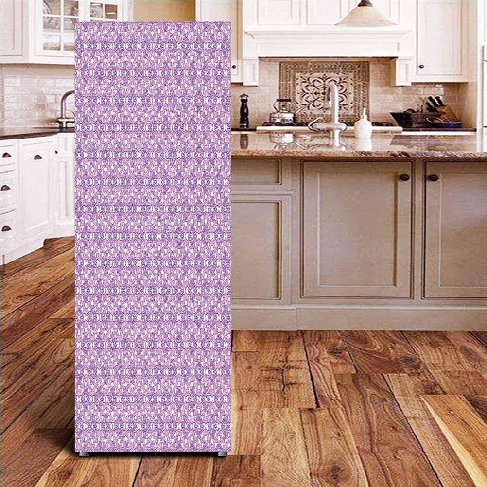 Angel-LJH Geometric 3D Door Fridge DIY Stickers,Blooming Flowers in Spring Season Themed Birth of The Nature Image Door Cover Refrigerator Stickers for Home Gift Souvenir,24x59