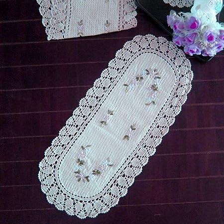 Ustide European Style Crochet Ribbon Stitch Table Runner Beige