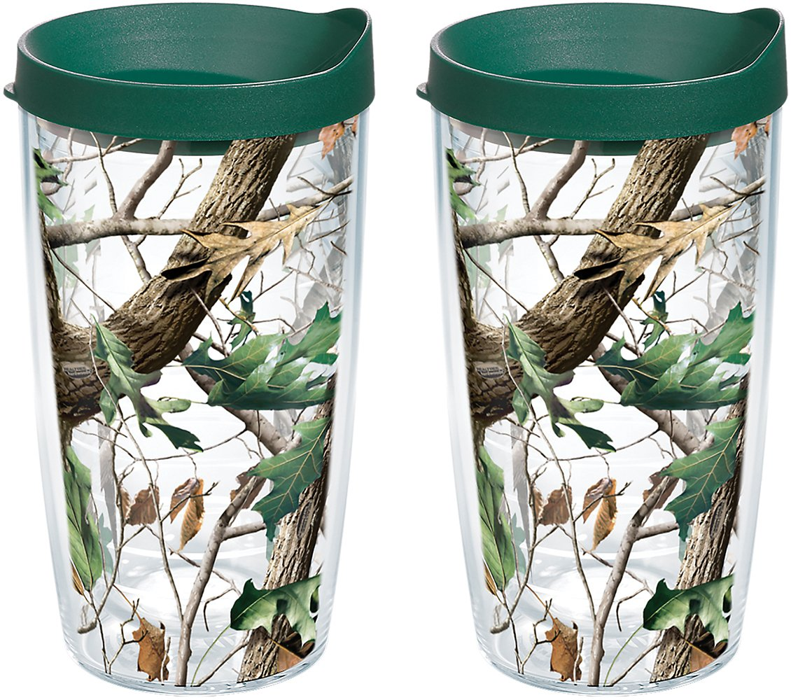 Tervis 1159603 Realtree - Camo Hardwoods Knockout Tumbler with Wrap and Hunter Green Lid 2 Pack 16oz, Clear