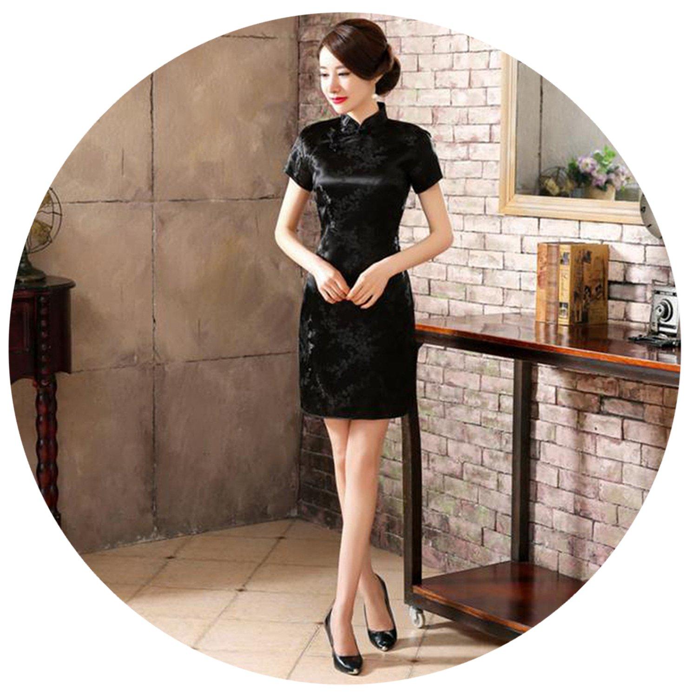 823e08b2f Chinese Women Dress Silk Satin Cheongsam Mini Sexy Qipao Flower Wedding  Dress at Amazon Women's Clothing store: