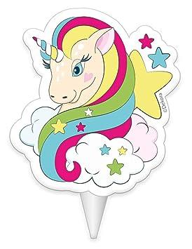 Generique - Vela de cumpleaños Unicornio 8 cm