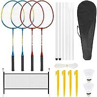 Achort Badmintonset, 4 spelers, badmintonrackets voor kinderen, complete badmintonracket, set met 2 shuttles, 4 rackets…