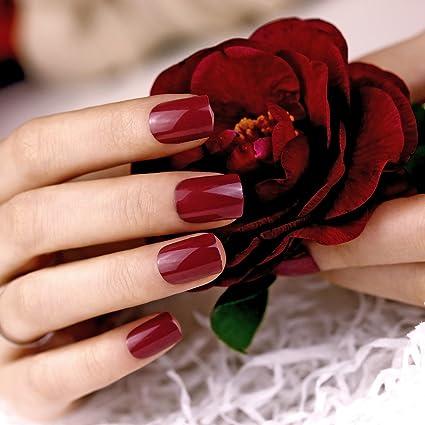 Art plus 24 burdeos juego de uñas postizas manicura francesa Full ...