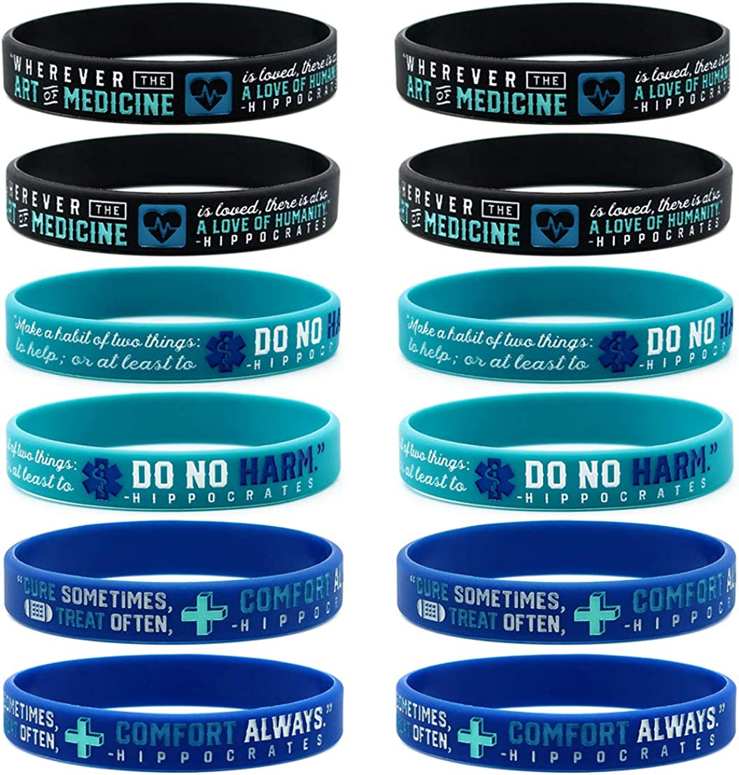 (12-pack) Inspirational Medical Wristbands with Hippocratic Quotes - Wholesale Bulk Medical Gifts for Essential Healthcare Workers and Medical Students - Nurses Doctors Medical Assistants Professionals Men Women