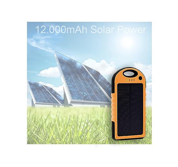 Solar Charger, 12.000 mAh Dual Cargador Power Bank, Lluvia ...