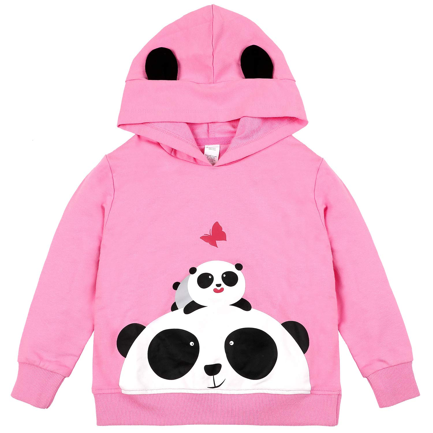 Sociala Pink Hooded Sweatshirt Toddler Little Girl 100 Cotton Hoodies Pullover 6