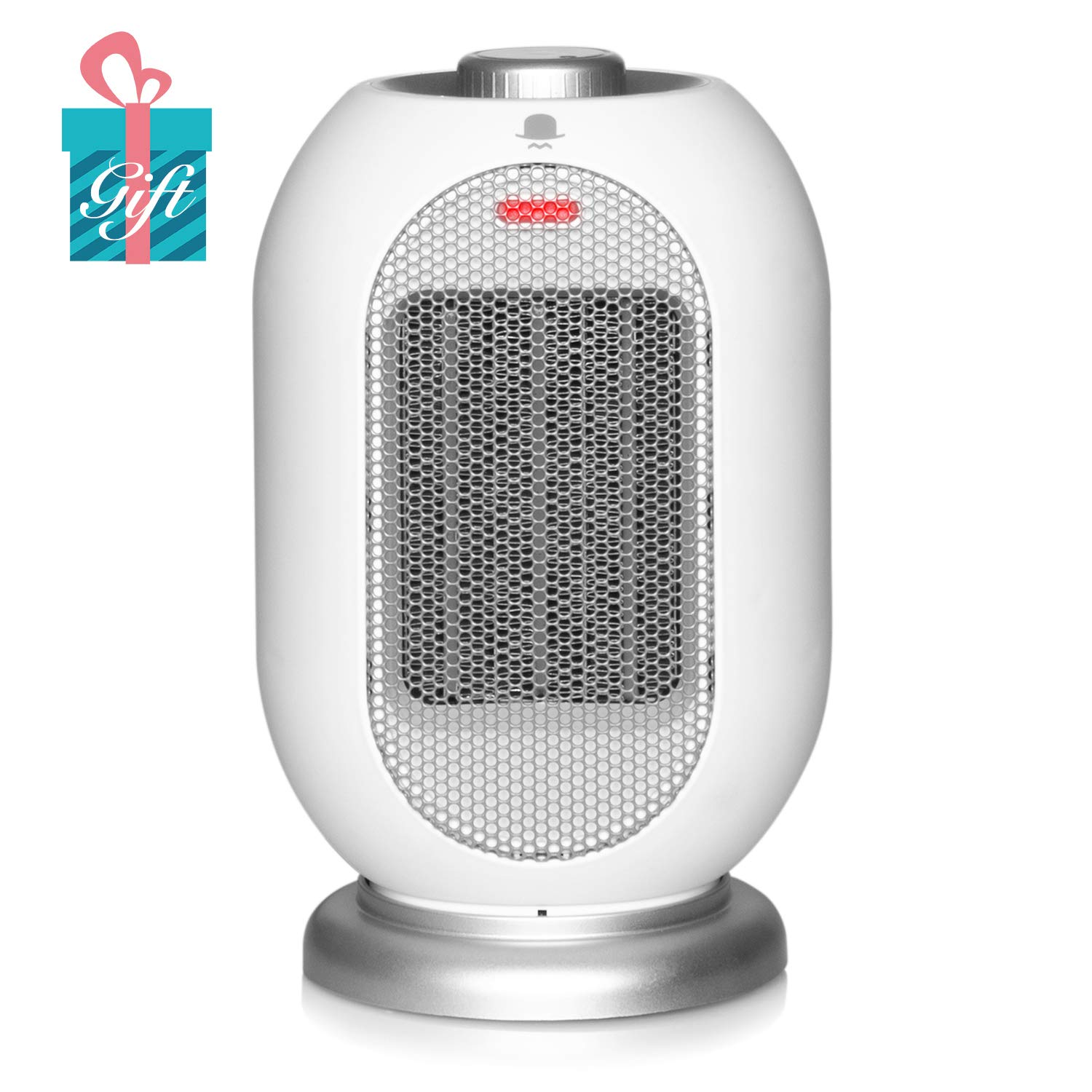MRMIKKI Small Space Heater for Office, 1200W/700W Electric Heater for Home, Ceramic Heater with Fan, Tip-Over and Overheat Protection, 3s Quick Heating with Oscillation (Black)