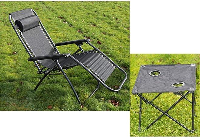 Denny International 2 Piezas Juego de Muebles de jardín al Aire Libre Tumbona reclinable sillas & Mesa Plegable Verano: Amazon.es: Jardín