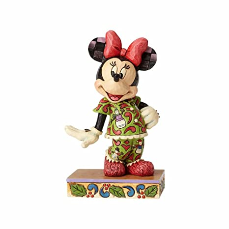enesco jim shore disney traditions minnie in christmas pajamas figurine