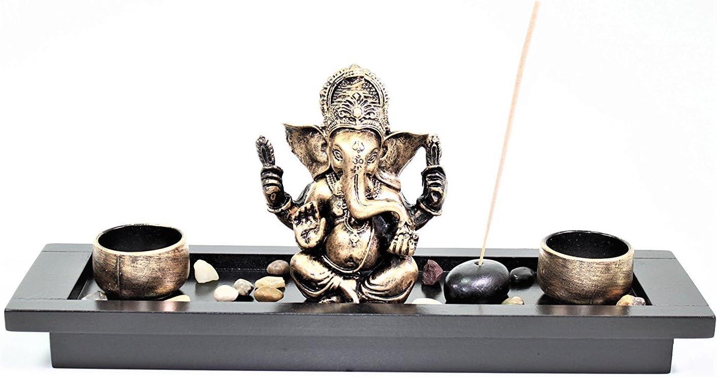 Elephant Ganesha Zen Garden Rocks Incense Burner Candle Holder Home Decor Gift
