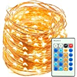 LED String Lights 60ft 180 LEDs TaoTronics Dimmable Festival Decorative Lights for Seasonal Holiday, Complete Waterproof, UL Listed( Copper Wire Lights, Warm White )