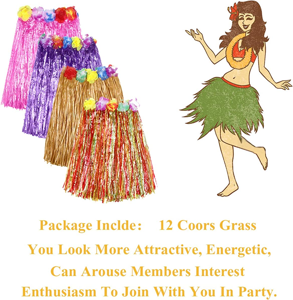 Large Birthdays Hajoyful Grass Skirt Hawaiian Luau Hula Skirts Party Decorations Favors Supplies Multicolor Grass Skirts for Adult Elastic Hibiscus Flowers Tropical Hula Skirt for Party Multicolored Celebration 60CM 12 Pack