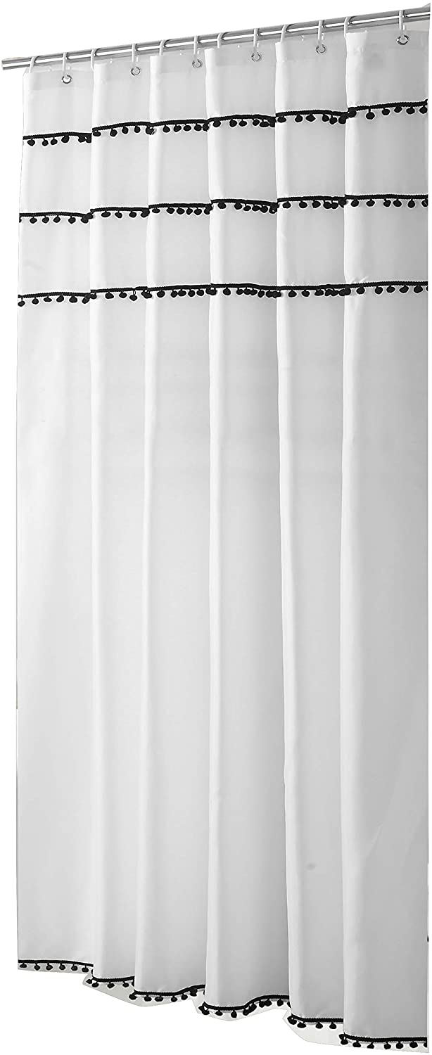 Sfoothome White Shower Curtain with Black Ball Tassel, Waterproof Bathroom Curtains,White(72 x 78)