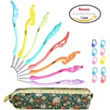Retro Crochet Hooks Set Ergonomic Grip Handle - Crochet Knitting Needles Knit Kit in Case - Great Gift for Her!