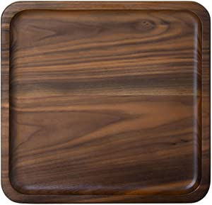 Rustic Walnut Wooden Tray Solid Wood Serving Tray Square Rectangle Platter Tea Tray Coffee Table Tray (Square Small (6.3 x 6.3 inch))
