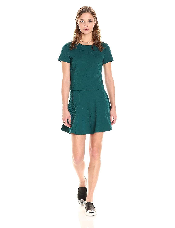 PARIS SUNDAY Women's Short Sleeve Textured Ponte 2 Piece Skirt Set AM052AB