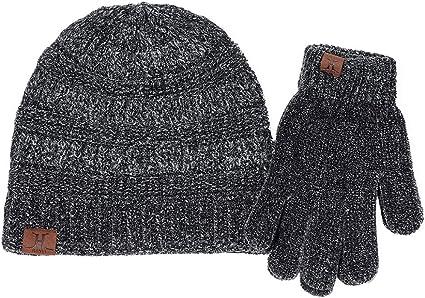 iKulilky Gorro de punto + guantes,sombreros de lana acrílica para mujer,gorro de punto para mujer/gorro de algodón con gorro de punto para otoño e invierno - Negro: Amazon.es: Instrumentos musicales