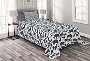 Ambesonne Cattle Bedspread, Farm Animals Silhouette Background Style Pattern for Agriculture Theme, Decorative Quilted 2 Piece Coverlet Set with Pillow Sham, Twin Size, Dark Blue