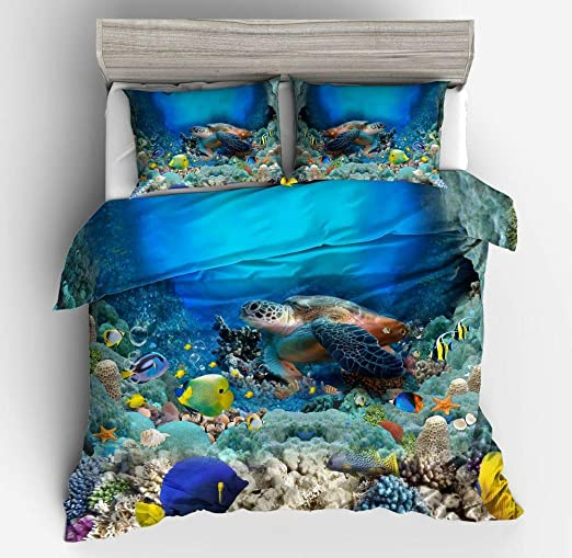 3D Cartoon Animal Sea 57 Bed Pillowcases Quilt Duvet Cover Set Single Queen US