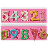 2PCS Lace Embossing Soft Silicone Mold Mould Sugar Craft Icing Cake Cupcake Fondant Decorating Tool Number Pattern #HW898