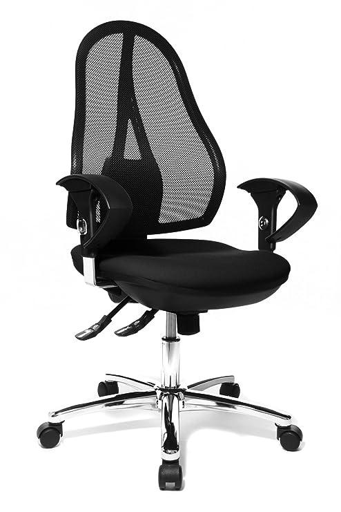 Topstar Open Point SY Deluxe, ergonomischer Syncro-Bandscheiben-Drehstuhl, Bürostuhl, Schreibtischstuhl, inkl. Armlehnen (höh