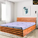 Queen Size Bed - by ComfyBean - Cleora Bed - Engineered Wood - Bed with Headboard - with Storage (Woodpore Laminate Finish - BD01)