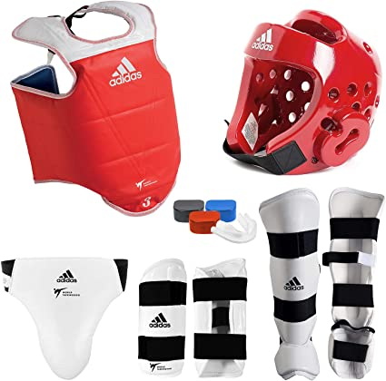 Complete Pine Tree Taekwondo Vinyl Sparring Gear Set w//Shin Hand and Foot Guard