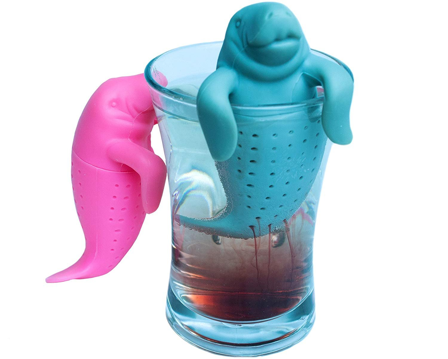 Manatee Loose Leaf Tea Infuser Gift Set of 2 Strainers for Herbal Weight Loss Tea and Mulling Spices Made from Grey and Pink Food-Grade Silicone