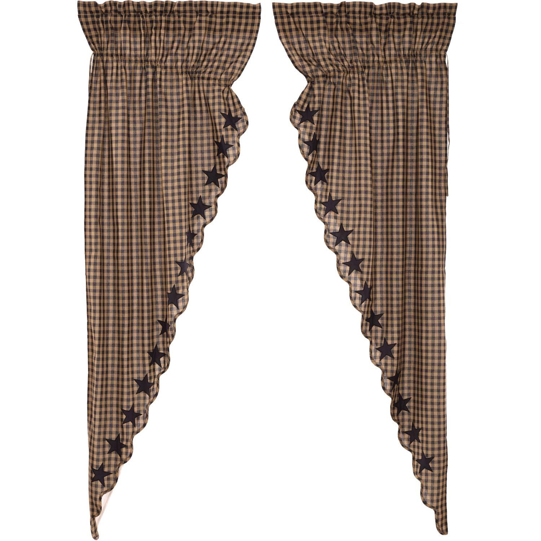 VHC Brands Primitive Curtains Black Rod Pocket Cotton Drawstring Ties Appliqued Star Prairie Panel Pair Raven