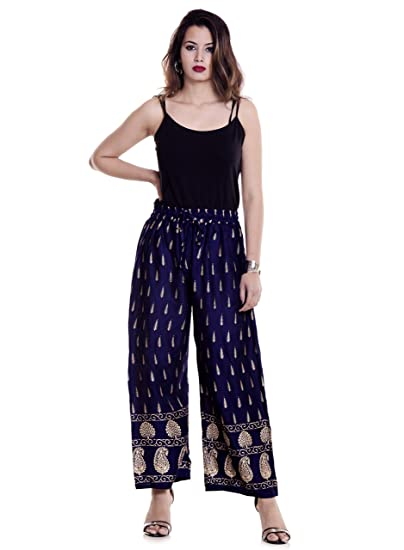b172a5024ba4c HANDICRAFT-PALACE Rayon Pant Ankle Length Trouser Gold Print Palazzo Pant  Soft Fabric Women's Pants(Navy Blue): Amazon.in: Clothing & Accessories