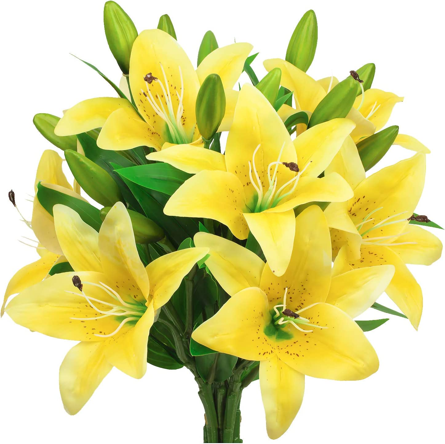 GPARK 8Pcs (Each 15'') Artificial Lily Flowers Bouquets Real Touch for Wedding Party Home Garden Kitchen Office Outdoor Greenery Wall Decor Yellow