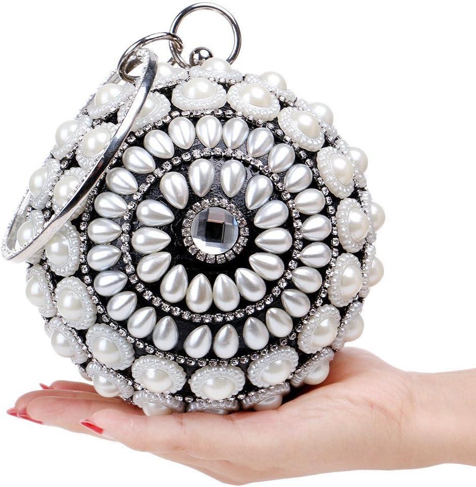 GHANDG Handbag Purse Women Ball Clutch Purse Pearl Evening Handbag Mini Small Cute Clutch Bag Color : Black