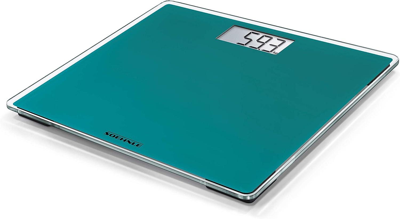 Soehnle Báscula Digital Style Sense Compact 200 Peso de Baño en Tamaño Compacto, Báscula Corporal con Pantalla LCD Fácil Legible, Báscula Plana, Verde (Océano)