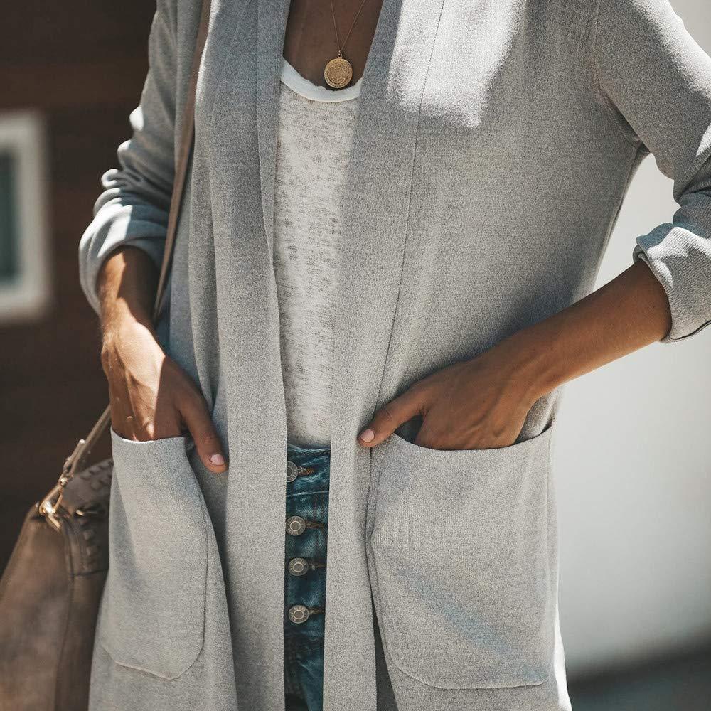VJGOAL para Mujer de otoño Invierno de Moda Casual de Manga Larga Abrigo de Color Puro Breve Abrigo de Bolsillo Largo(XL, Gris): Amazon.es: Ropa y ...
