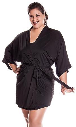 4991b14cb8 Vx Intimate Women s Plus Size Stretch Knitted Short Kimono Wrap Robe   3081X XX (
