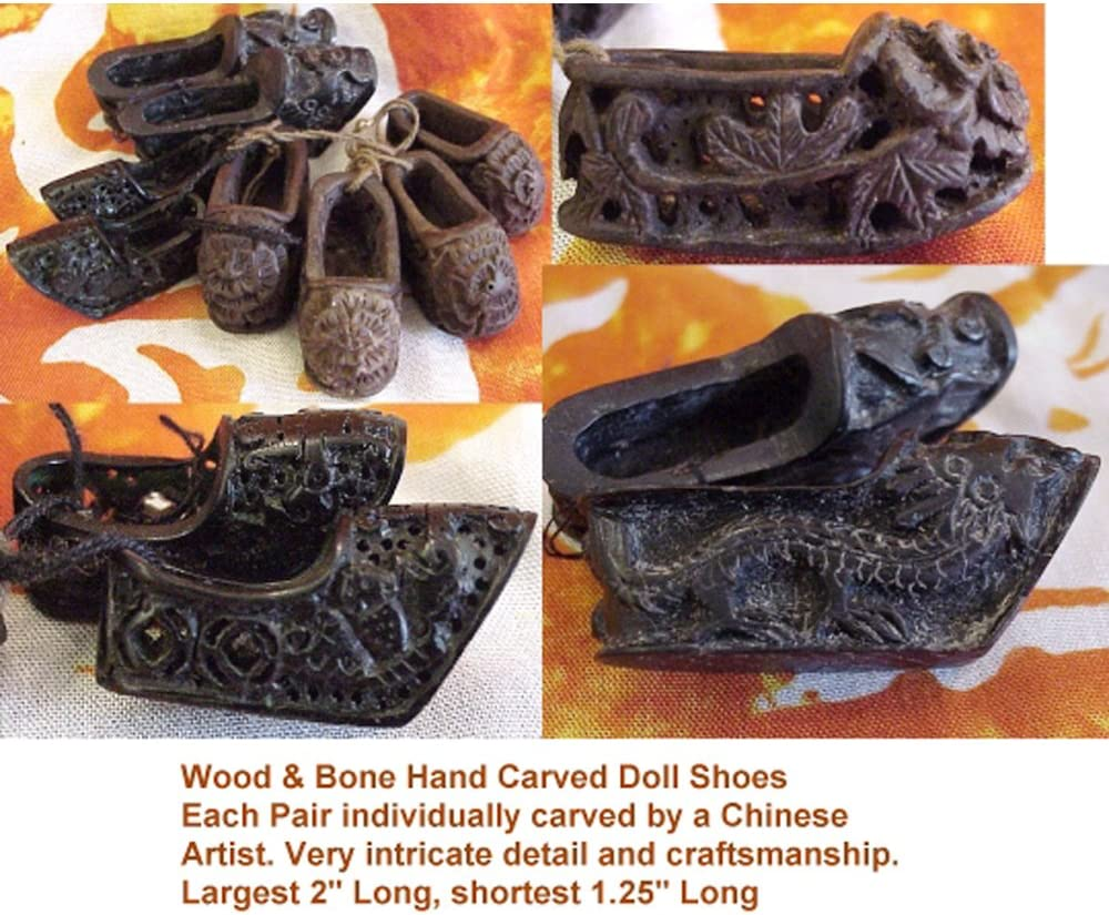 Amazon Com Feng Shui Master Hand Carved Bone And Wood Doll Shoes Home Kitchen