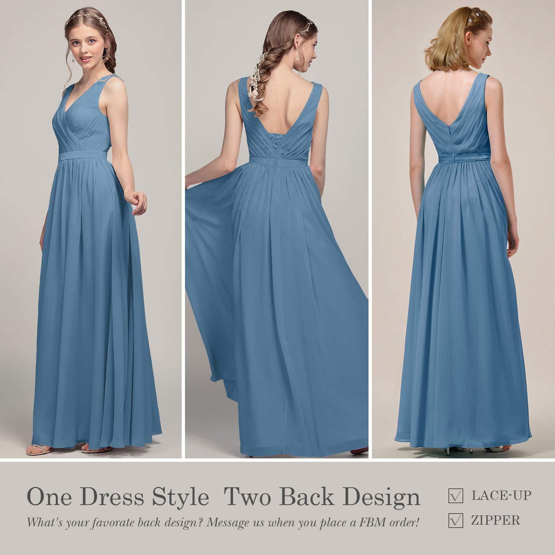 Alicepub V-Neck Chiffon Plus Size Bridesmaid Dress Long Party Prom Evening  Dress Sleeveless, Mauve Mist, US28