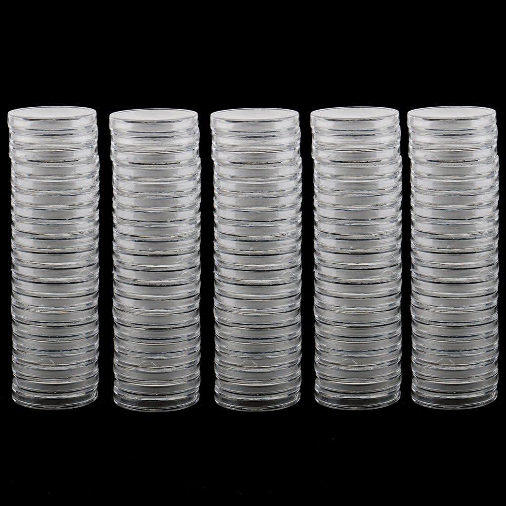 Bonarty Support De Rangement pour Capsules De Pi/èces Rondes en Plastique Transparent De 100 Pi/èces en Plastique 19//22//28//30//37 19mm 38mm
