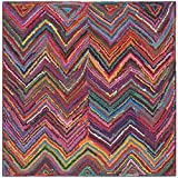 Traditional Kids Rug - Nantucket Cotton Pile -Pink/Multi Style-A Pink/Multi/Traditional Kids/6'L x 6'W/Square