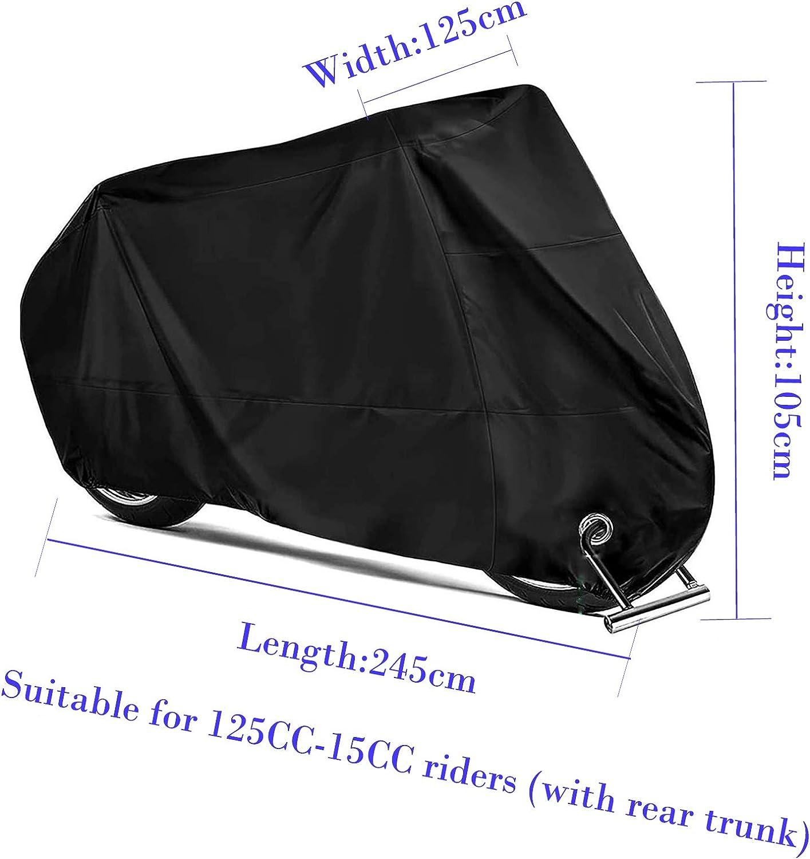 Remebe 190T Housse de Moto Toutes Saisons Noir /étanche ind/échirable Durable Housse de Moto Soleil 245 x 105 x 125 cm