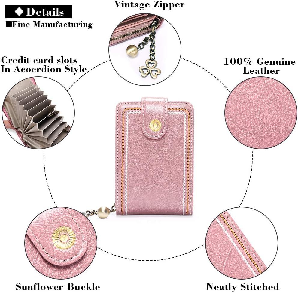 SENDEFN Women/'s Credit Card Holders Wallet RFID Blocking Accordion Zipper Card Cases Holder for Women Bank ID Card Case